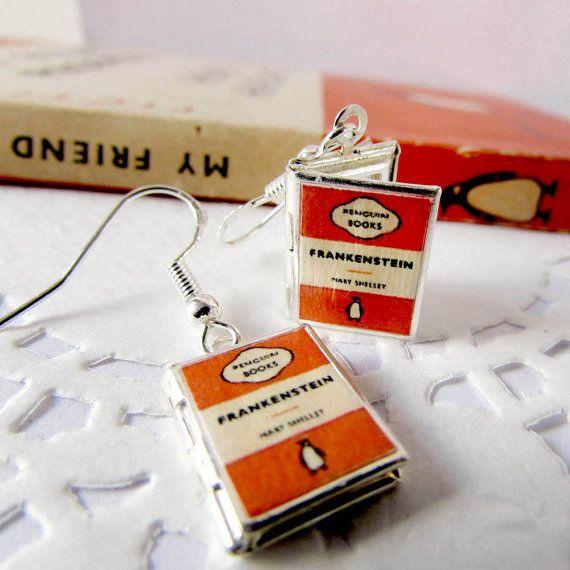 Mini Book Locket Earrings,Pengiun Book,Vintage Pengiun,Book Lover Gift,Book Jewellery,Book Earrings,Writers Gift, Miniature Book,Orange,Book
