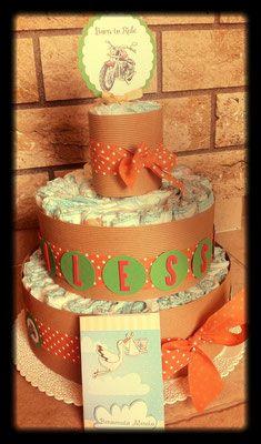 Torte di Pannolini - la spiga lilla partecipazioni Torta a 3 piani personalizzata+topper e bigliettino #laspigalilla #tortapannolini #babyboy #newborn