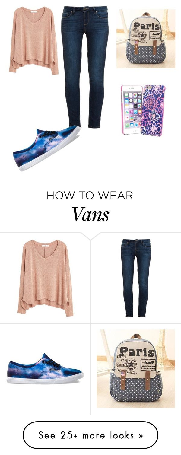 """School"" by shelbypruneau on Polyvore featuring MANGO, Paige Denim, Vera Bradley, Canvas Love and Vans"