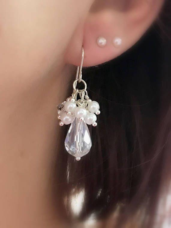Sterling Silver Pearl Earrings Crystal Pearl Earrings