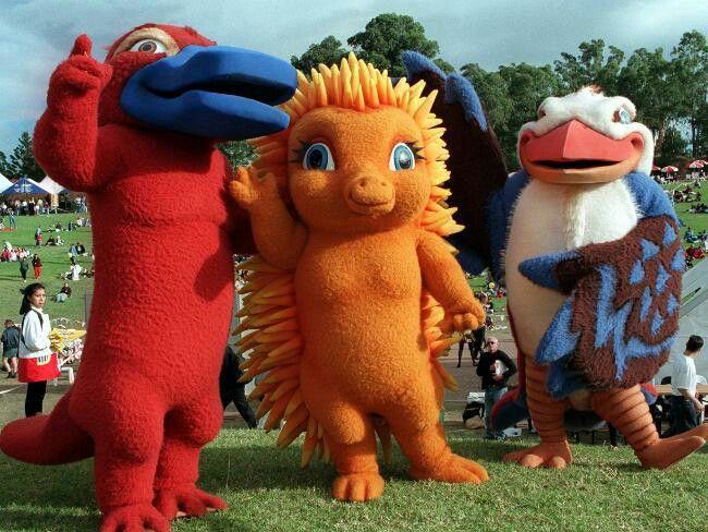 Les 3 mascottes des jeux olympiques 2000 au pays des kangourous.