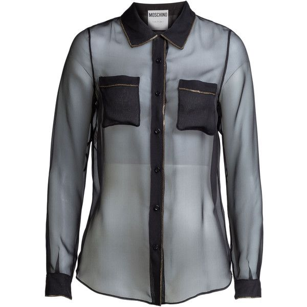 Черная прозрачная блузка