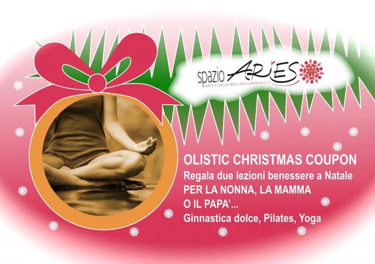 OLISTIC XMAS COUPON: Il benessere a Natale PER LA NONNA, LA MAMMA O IL PAPA'... 2 lezioni a scelta tra Pilates, Hatha yoga o Ginnastica Dolce con un contributo di 20,00 € (compresa la tessera associativa) e un bellissimo pacchettino regalo! #regali di #natale