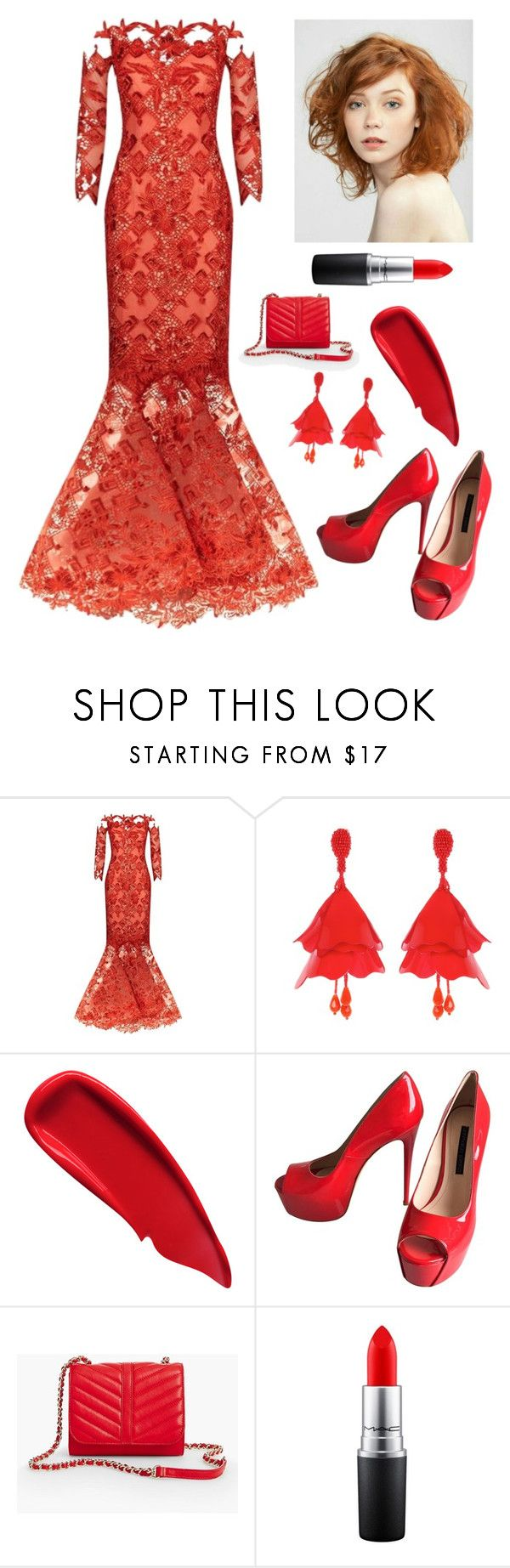 """Red Laced Gown"" by kotnourka ❤ liked on Polyvore featuring Mikael D, Oscar de la Renta, Sisley, Gianmarco Lorenzi, Talbots and MAC Cosmetics"
