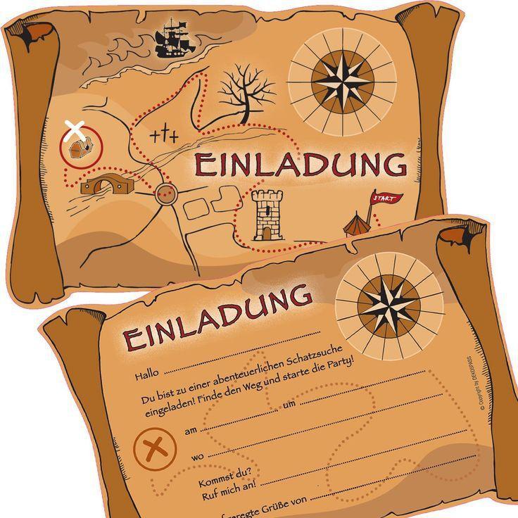 6 Einladungskarten * SCHATZSUCHE * Für Eine Mottoparty, Schnitzeljagd Oder  Kindergeburtstag Von DEKOSPASS // Geocaching Party Ritter Piraten Kinder ...