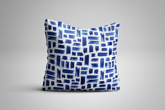 Blue Paint Strokes Cushion. 12 x 12 inch Cushion by NJsBoutiqueCo