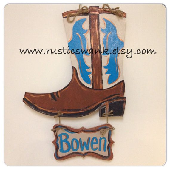 Cowboy Boot Wooden Door Hanger with Name Plate on Etsy, $45.00