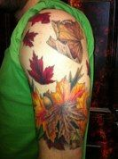 Jeff noss at comes a time tattoo in fairfax, realistic fall leaves tattoo shoulder almost half sleeve