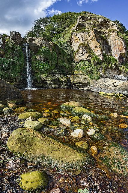 Waterfall onto the beach. Hayburn Wyke, North Yorkshire, England #scarborough