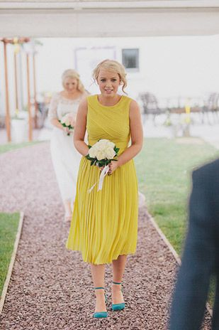 Cute bridesmaid in yellow dress | www.onefabday.com