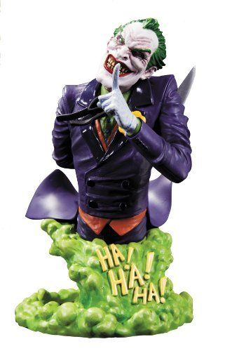 """DC Collectibles DC Comics Super Villains: The Joker Bust by DC Collectibles. $56.23. Hand-painted bust. Measures approximately 6"""" H x 4"""" W x 6.75"""" D. Cold-cast porcelain. Sculpted by Phil Ramirez to capture DC Entertainment's most famous villain. Packaged in a 4-color box. From the Manufacturer                Sculpted by Phil Ramirez. Shh. The Joker has a secret-and you know it's the worst kind. Sitting atop a cloud of Joker gas and wearing his classic purple tuxedo, this brand n..."""