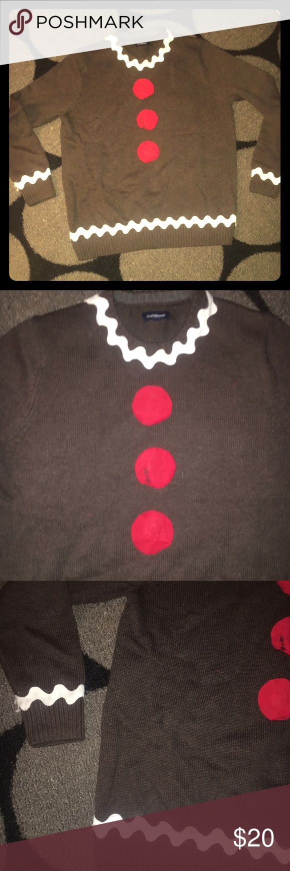 Homemade ugly gingerbread sweater The perfect sweater for your holiday party. Homemade. Small stain on second red dot. Sweater plus crafts cost over $40. Men's sweater size large but does not run big at all. Worn once for a few hours. Sweaters Crew & Scoop Necks