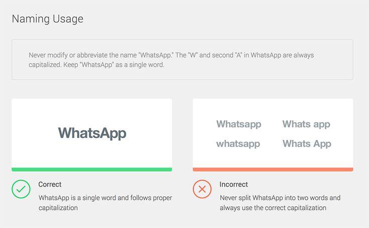 brand guidelines - Naming Usage - WhatsApp