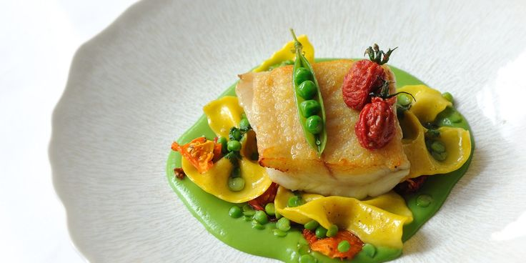 The combination of brill, farfalle and heirloom tomatoes in this recipe from Luke Holder of Lime Wood is both beautifully colourful and delicious