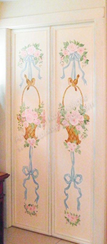 Ζωγραφική σε πόρτες παλιάς ντουλάπας. Μια ρομαντική νότα για ένα μικρό κοριτσίστικο δωμάτιο, αναβάθμισε την παλιά ντουλάπα με τον πιο όμορφο τρόπο!…