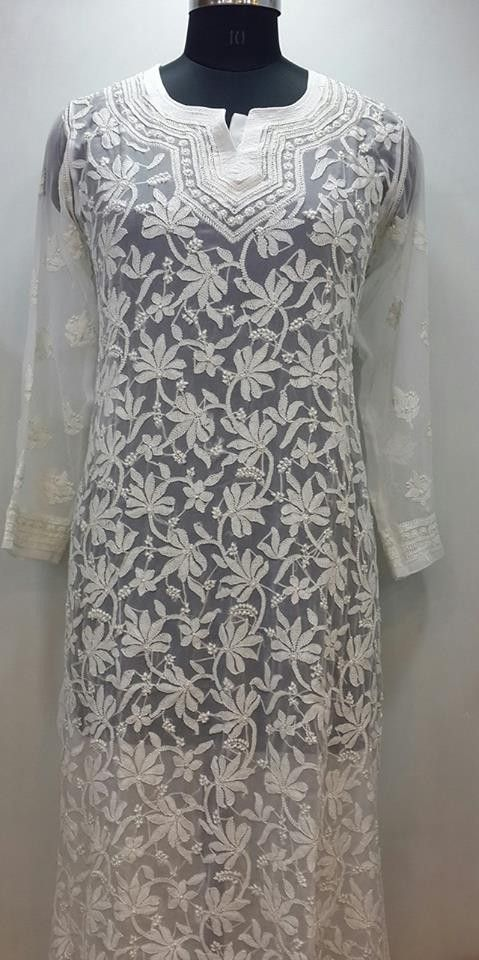 Lucknow Chikan Online Kurti White on White Faux Georgette $60