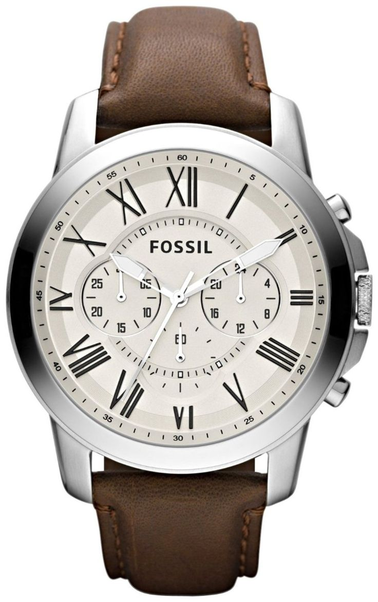Fossil FS4735 Grant Brown Leather Watch < $82.25 > Fossil Watch Men