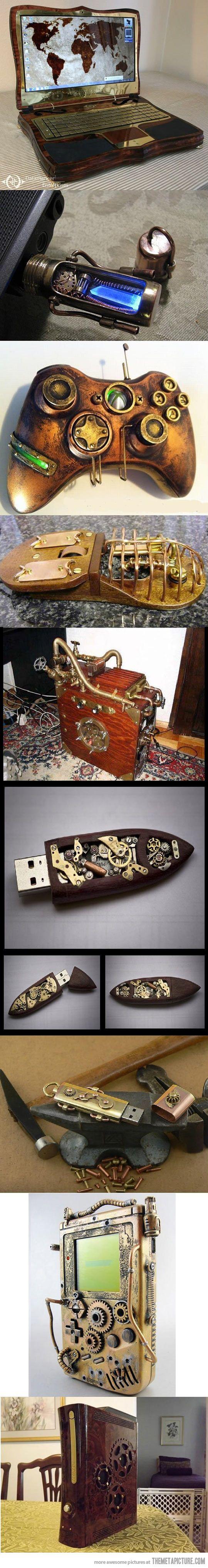 Notebook e periféricos. Steampunk. Arte. Criatividade. Informática.