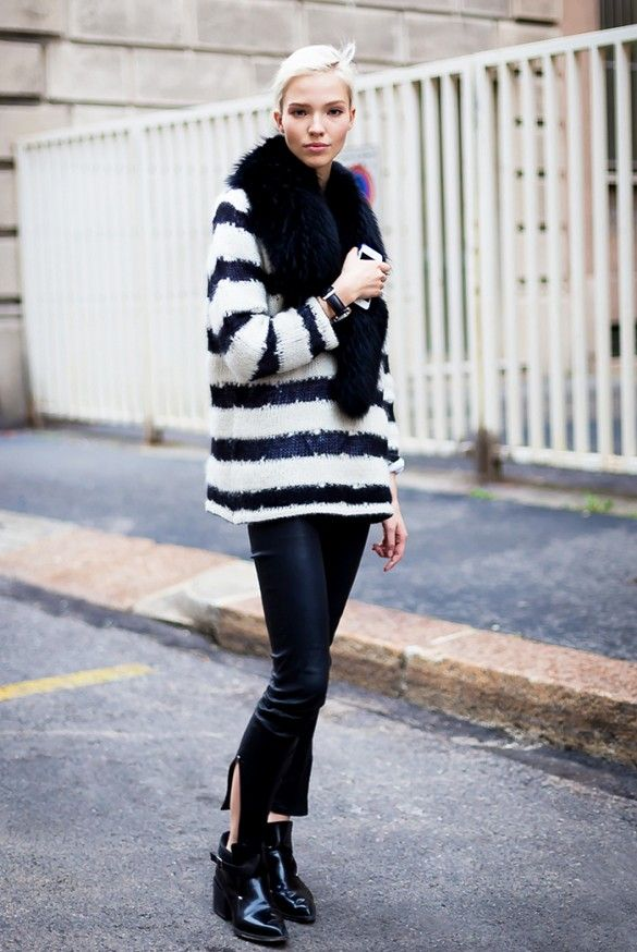 Cozy black fur scarf layered over a fuzzy striped sweater, cropped leather pants and chunky black boots
