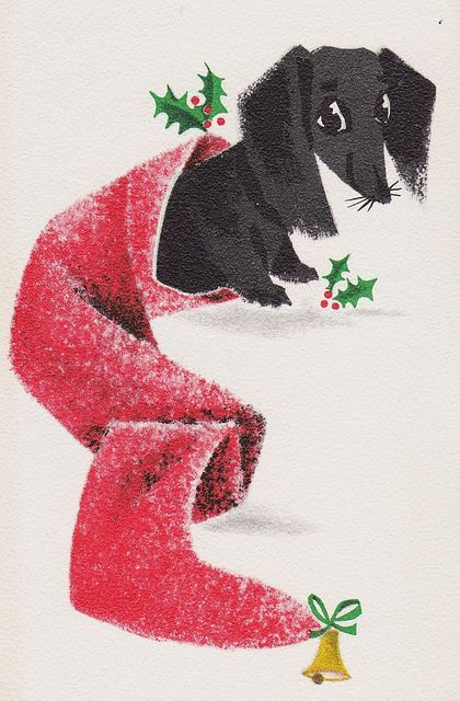 Vintage dachshund Christmas card -- if you click through, I also have 4 cute dachshund Christmas videos at my blog.