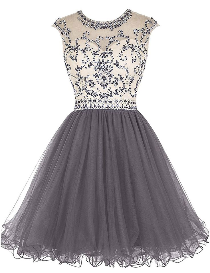 LovingDress Short Prom Dresses Tulle Scoop A Line Mini Homecoming Dresses at Amazon Women's Clothing store: