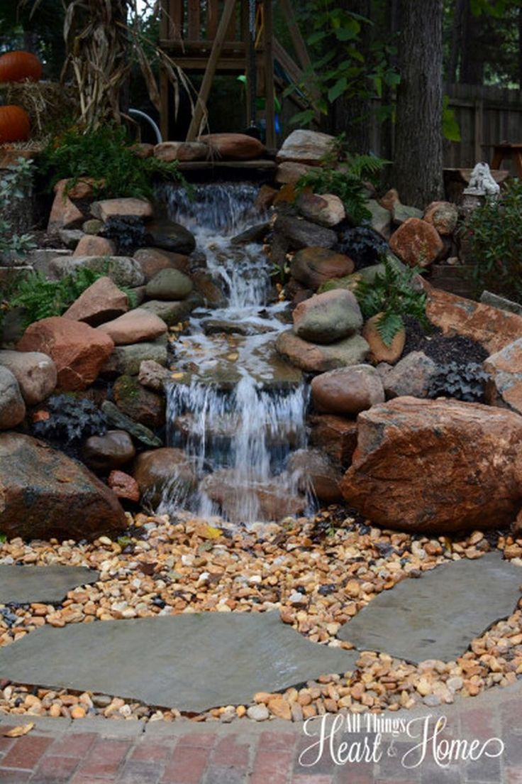 Best 25 outdoor waterfalls ideas on pinterest backyard for Small pond decorations