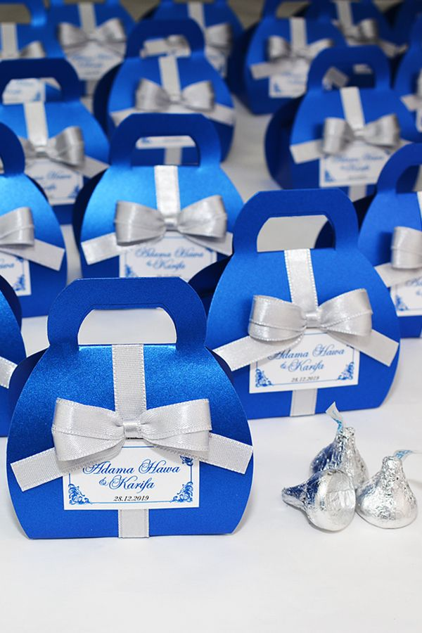 Royal Blue Wedding Favor Gift Box With Silver Satin Ribbon Bow And Your Names Elegant Personalized Bonbonniere Small Purse For Candies Wedding Favor Gift Boxes Royal Blue Wedding Favors Wedding Gift