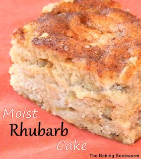 MOIST RHUBARB CAKE - A deliciously moist cake filled with rhubarb and topped with a cinnamon-nutmeg mixture.  Great for a snack or dessert! #rhubarb #cake #recipe