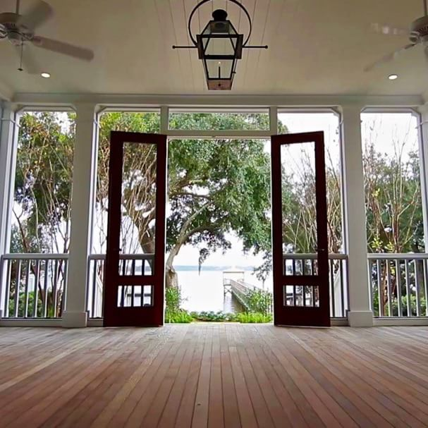 Screened Porch Leading to the Charleston Style Garden / Wando River. #shiplap…