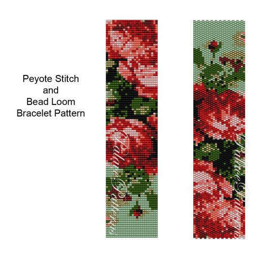 Roses are Coral Peyote Stitch or Bead Loom by PalacePatterns