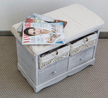 Comoda panca panchina legno cassetti vimini legno shabby seduta panna design retro (Cod. 0-1076): Amazon.it: Casa e cucina