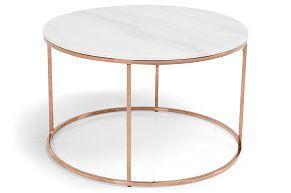 Sofabord Titania Hvit Marmor/Kobber Rundt 80x50 cm