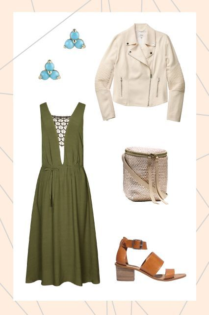 Ready-For-Spring Outfits To Start The Season #refinery29  http://www.refinery29.com/spring-2015-outfit-ideas#slide-3  For slightly crisp spring date nights, pair a sleeveless dress with a moto jacket for the right amount of coverage and warmth. We're especially feeling Wilfred's cropped cream jacket; it's the perfect color to welcome the season.