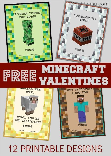Free printable minecraft Valentines Day cards for kids. 12 different designs.  -- Dannon will LOVE these!