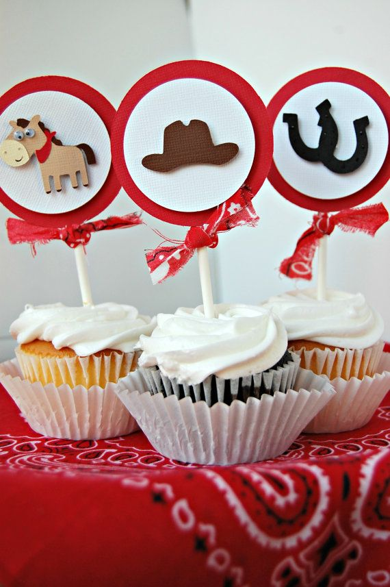 Cowboy Rodeo Ranch Birthday Party Cupcake by WeBringTheParty, $12.00
