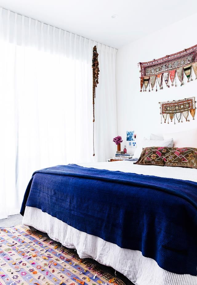 Boho bedroom from a global-inspired home in inner-city Sydney. Photography: Maree Homer | Styling: Louella Tuckey | Story: real living
