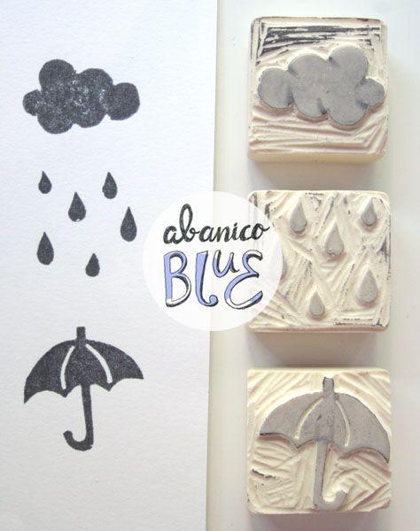 Sello goma paraguas lluvia nube:                                                                                                                                                                                 Más