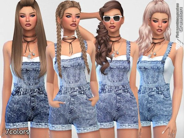 The Sims Resource: Short Denim Dungarees by Pinkzombiecupcakes • Sims 4 Downloads