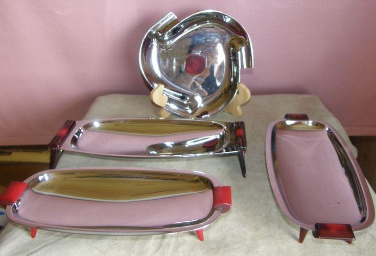 Lot 4 Vintage Glo Hill Platter Chrome w Red Bakelite Handle
