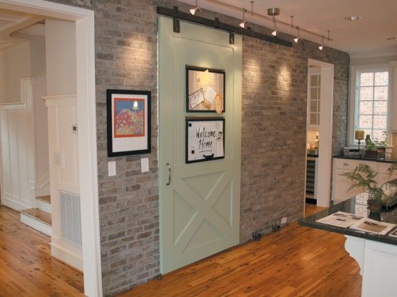 Beautiful Sliding Barn Door Brick Veneer Wood Wall