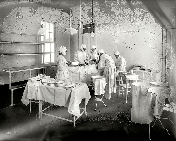 """March 16, 1915. """"Operating Room, Washington Asylum Hospital."""" More sanitary, one hopes, than the moldy glass plate recording the scene."""