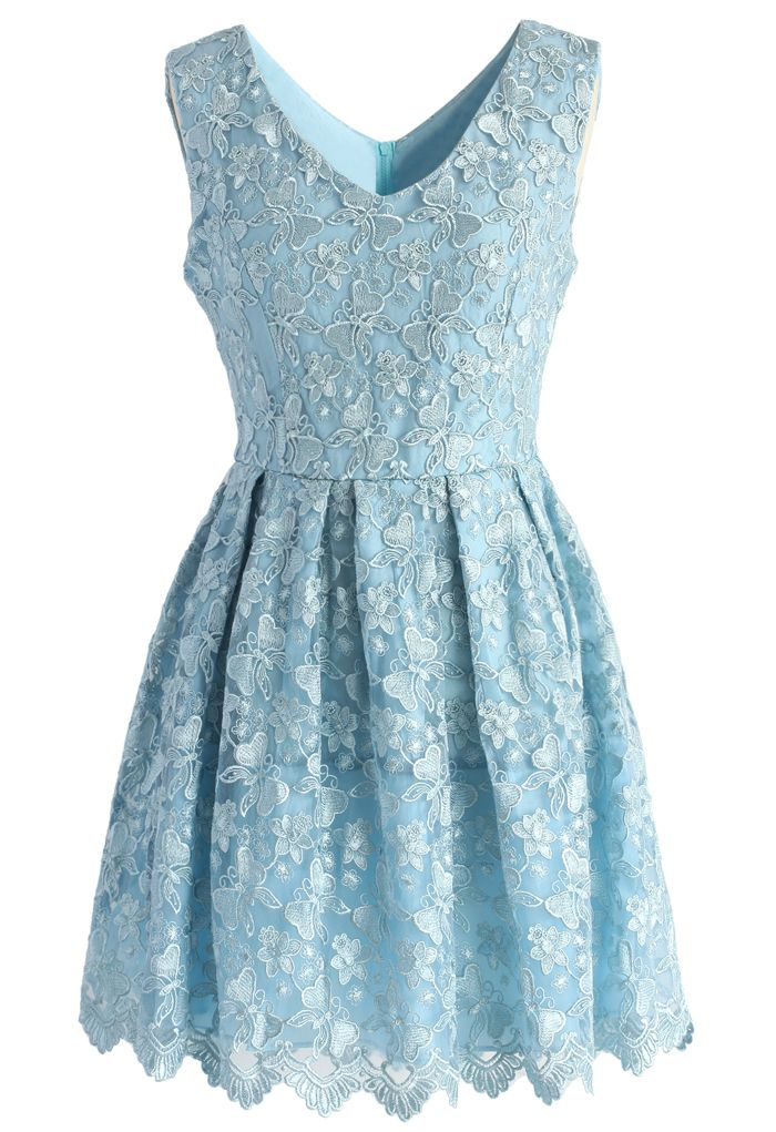 Fair Butterfly Embroidered Tulle Dress In Baby Blue New