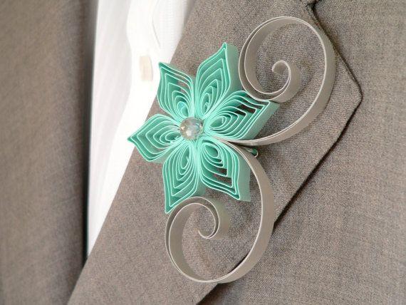 Mint Green Grey Flower Boutonniere, Groomsmen Gift, Mint and Grey Wedding, Spring Weddings, Alternative Boutonniere