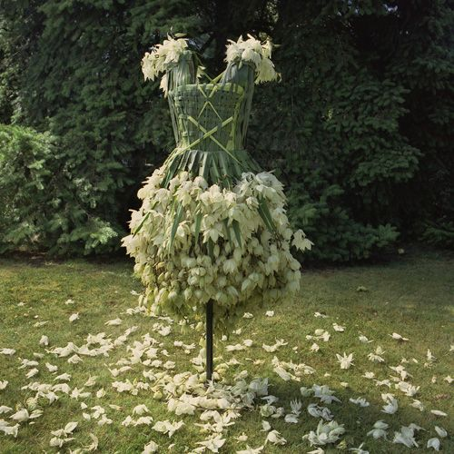 This is a prom dress made from Yucca leaves and flowers