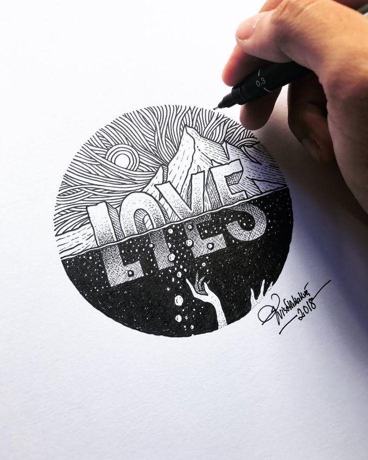 Liebe – Lügen. Detaillierte Zeichnungen mit viele…