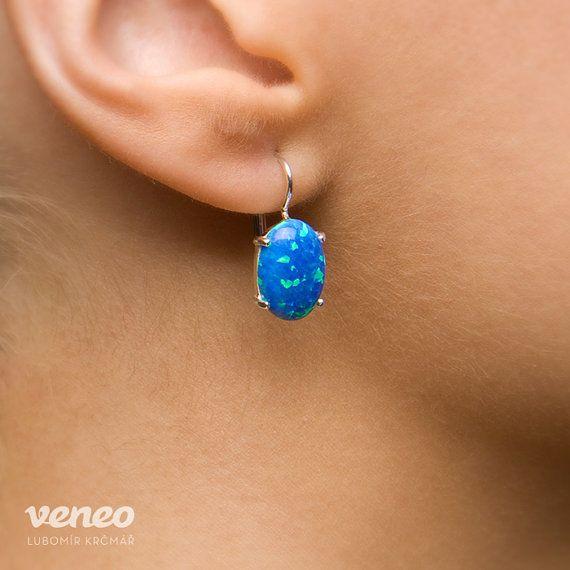 Ariana. Silver or Gold Opal Earrings all sizes by Veneo on Etsy,  handmade in Czech Republic $77.00