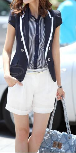 Travel Style | Navy blazer + White trim, Lapel neck,  dresslily.com