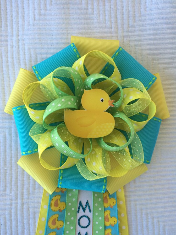 Baby Shower Duck Yellow And Green Corsage Gender Reveal Baby Shower Ducky Baby Shower Neutral