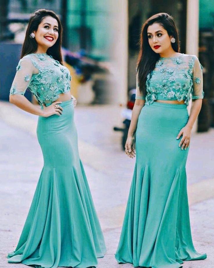 8b7e98e5edf0 Neha Kakkar In Sea Green Skirt Top,Rayon & Net Skirt Top,Party Wear Skirt  Top,Embroidery Work top,Buy Skirt Top Online