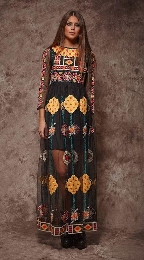 4ba042373a0 Vestido negro estampado de Zaitegui Vestido Largo Boho, Vestido Negro,  Vestidos Hippies, Vestidos